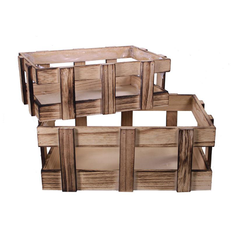 Set de 2 caisses en bois Noevy - Grossiste fleuriste