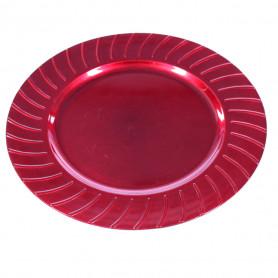 Assiette fantaisie ronde rouge Geby - Grossiste fleuriste
