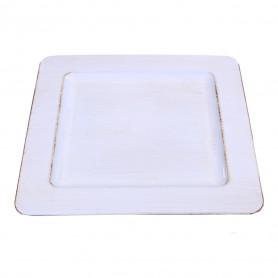 Assiette carrée fantaisie blanc anthique Gebo - Grossiste fleuriste