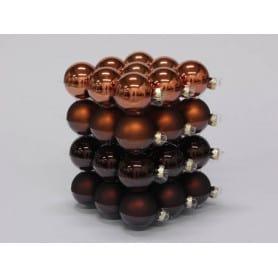 Boules de Noël en verre différentes tailles - Mélange marron - Grossiste fleuriste