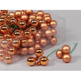 Boules de Noël en verre différentes tailles - Mélange orangé - Grossiste fleuriste