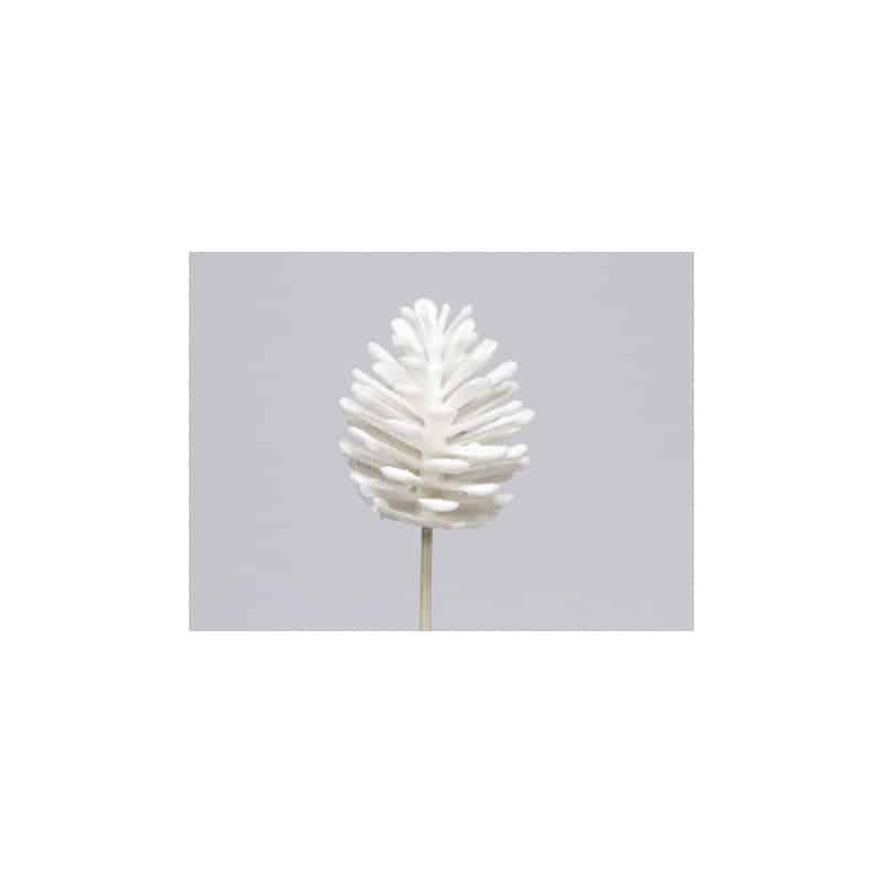 Pomme de pin paillettes sur pic différents coloris H. 7 cm - Grossiste noel