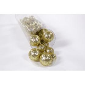 Boîte assortiment de boule déco pailletés différents coloris Gasbu - Grossiste fleuriste