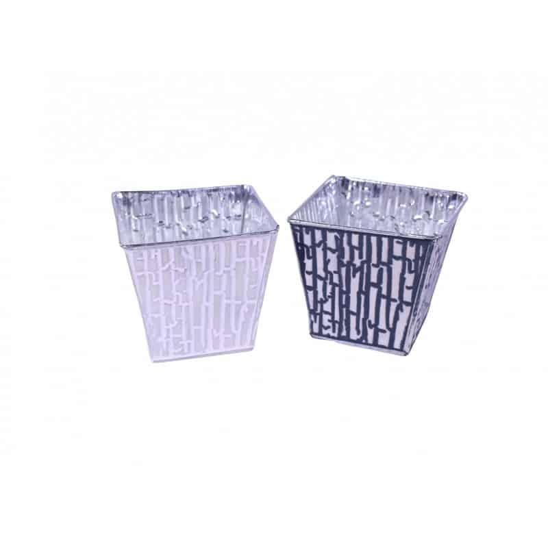 Cache-pot carré zinc Ecaillo - Grossiste fleuriste