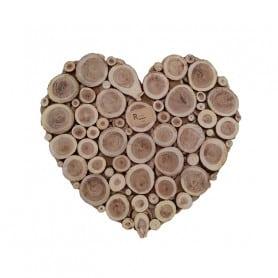 Cœur en rondins de bois Roméu - Grossiste déco