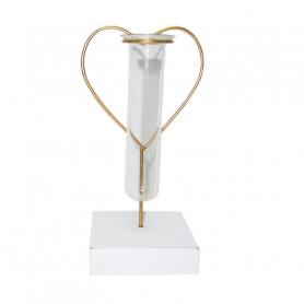Éprouvette tube en verre support cœur métal Julieta - Grossiste fleuriste