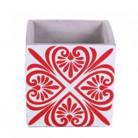 Cache-pot carré céramique Arabesko - Grossiste fleuriste