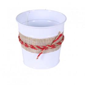 Cache-pot zinc détail jute Fily - Grossiste fleuriste