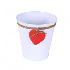 Cache-pot rond zinc pampille cœur Dito - Grossiste fleuriste