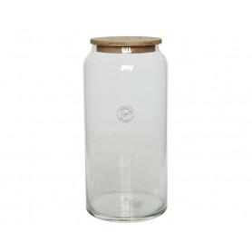 Vase cylindrique en verre et couvercle en bois Orane - Grossiste fleuriste