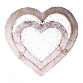 Set de 2 cœurs en bois et grillage Fanny - Grossiste fleuriste