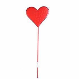 Pic Saint Valentin cœur rouge en métal - Grossiste fleuriste
