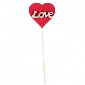 Pics Saint Valentin en bois Lovy - Grossiste fleuriste