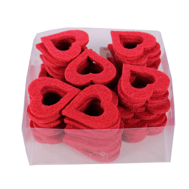 Boîte de 36 cœurs ajourés en bois  Azer - Grossiste fleuriste