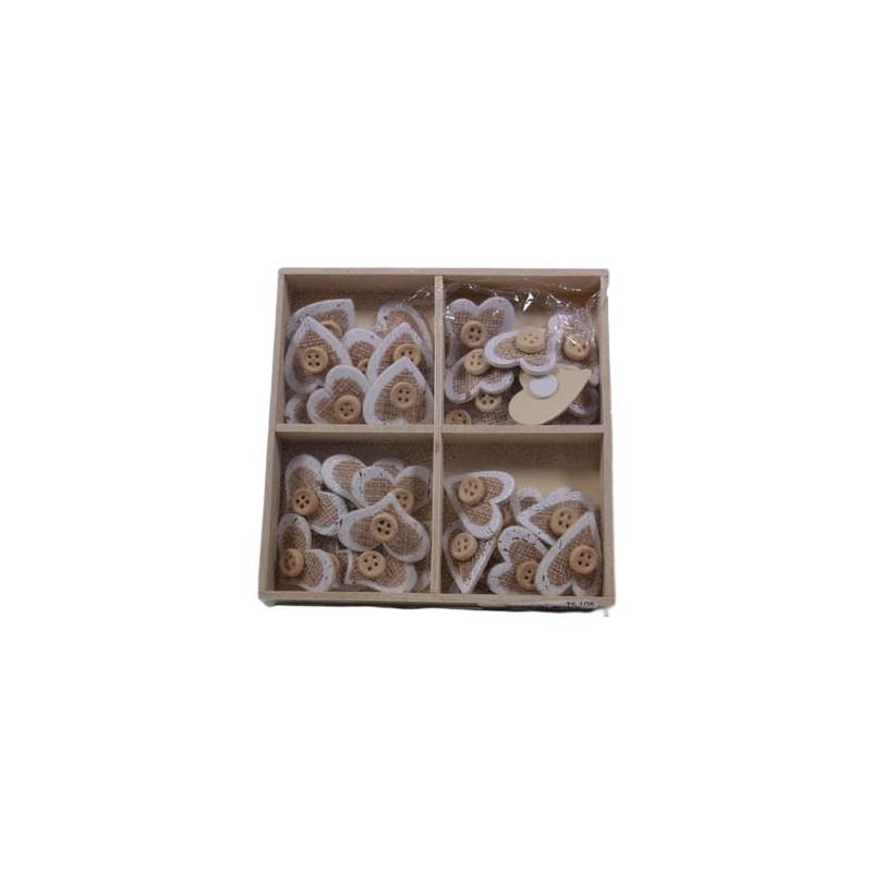 Boîte Sainte Valentin de 36 cœurs détail jute Devy - Grossiste fleuriste