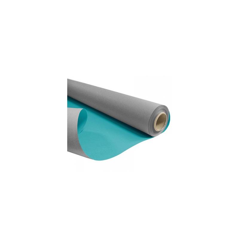 Papier kraft blanchi mat duo gris et turquoise - Grossiste fleuriste