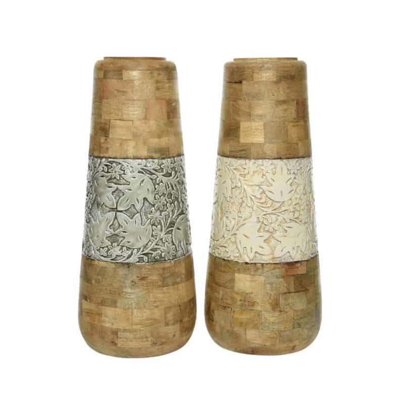 Vase bois et émail Richardo - Grossiste fleuriste