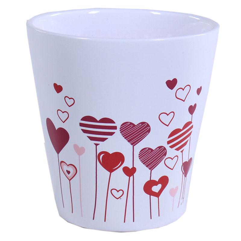 Cache-pot rond en céramique motif cœur Ylany - Grossiste fleuriste