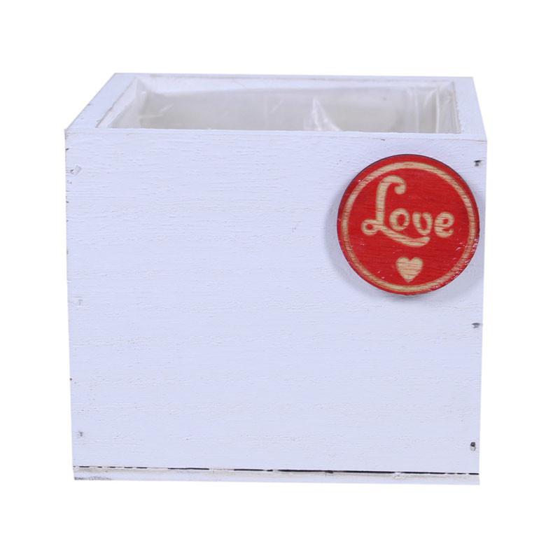 Cache-pot carré en bois LOVE - Grossiste fleuriste