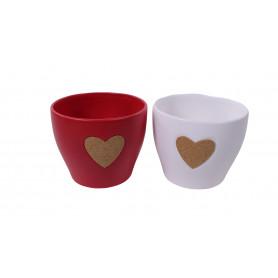 Cache-pot rond en céramique cœur en liège Aryu - Grossiste fleuriste