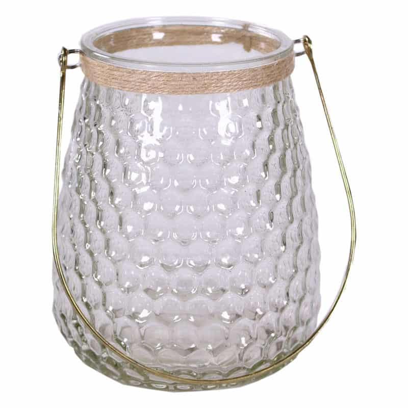 Photophore haut en verre et anse en métal doré Conty - Grossiste fleuriste