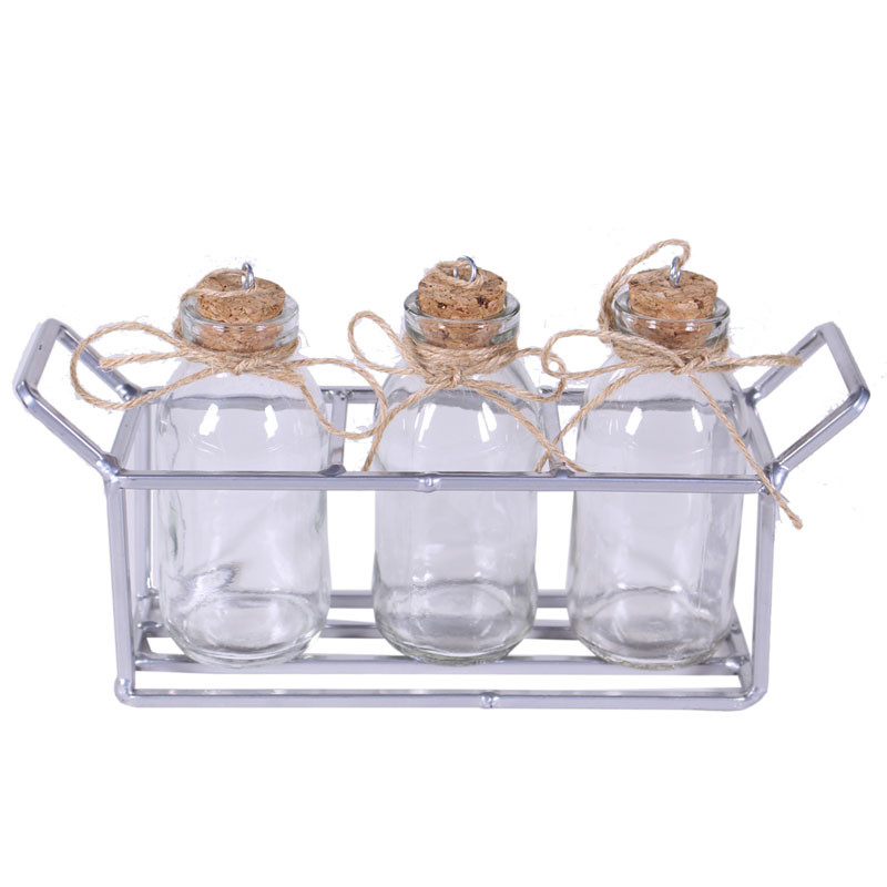 Mini bouteilles et support en métal Kalio - Grossiste fleuriste