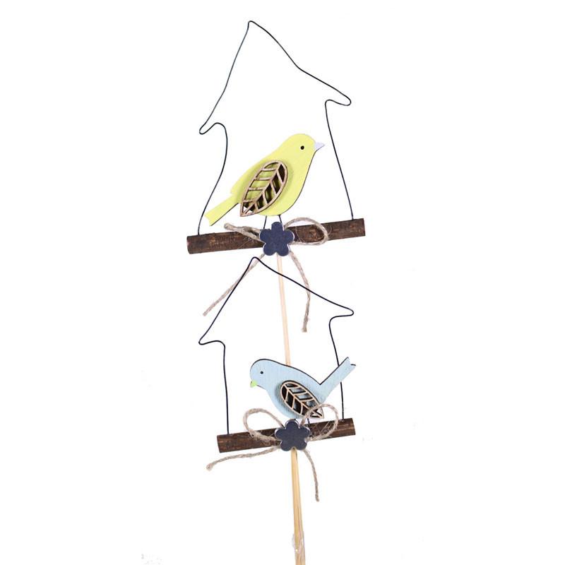 Pic printemps oiseau dans maisonnettes Promys - Grossiste fleuriste