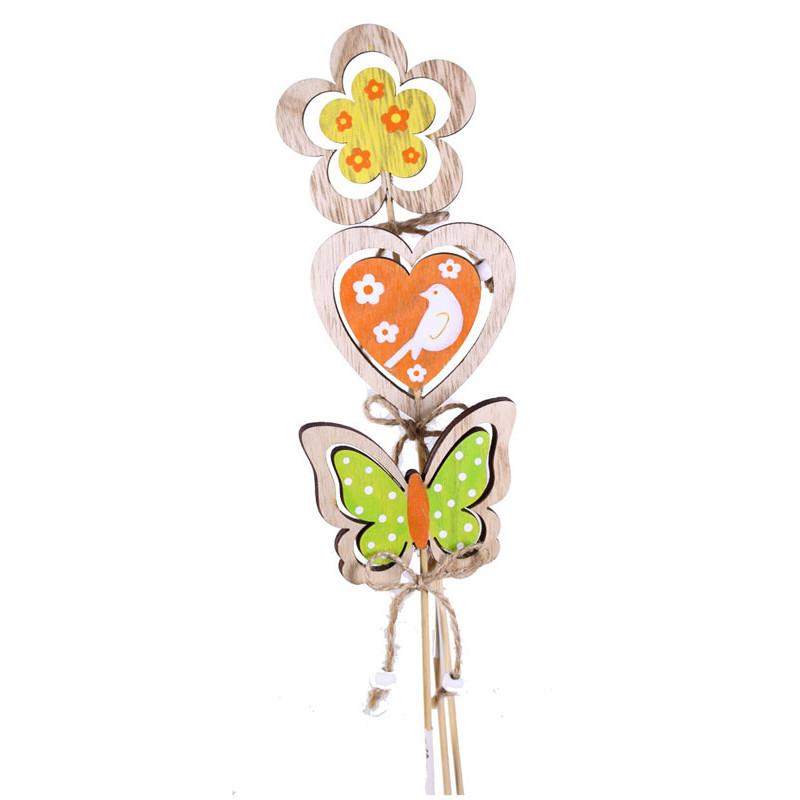 Pics papillon, fleur et cœur en bois Busny - Grossiste fleuriste