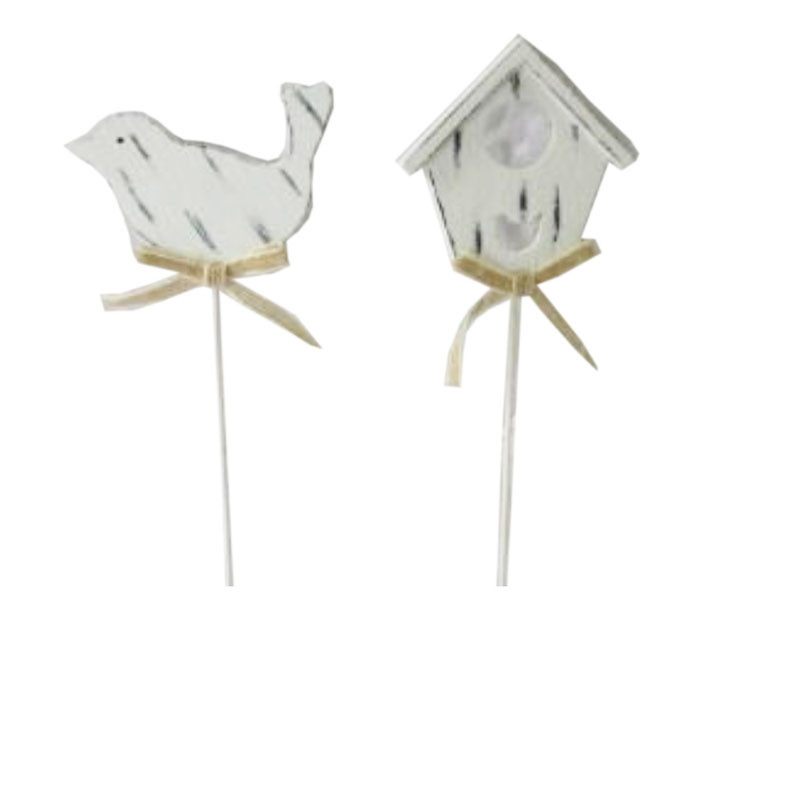 Pics printemps blanchis oiseaux et maisonnettes Netty - Grossiste decoration
