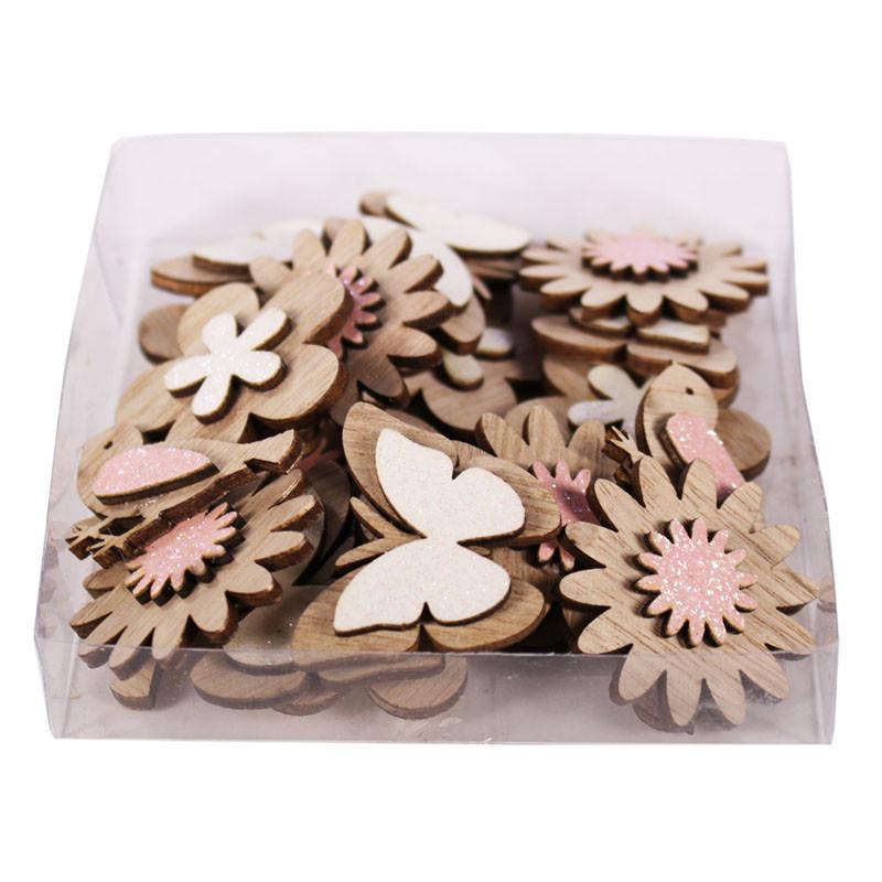 Boîte de 24 éléments en bois fleurs et papillons Chauty - Grossiste fleuriste