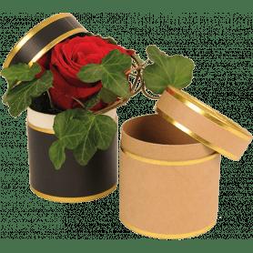 Boite à chapeau ronde kraft noir et doré grossiste fleuriste