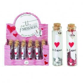 """24 flacons à message """"Je t'aime"""" Saint-Valentin - Grossiste fleuriste"""