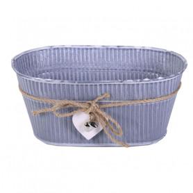 Jardinière ovale en zinc corde et pampille coeur - Grossiste fleuriste