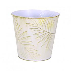 Pot rond zinc feuille Spring - fournisseur fleuriste