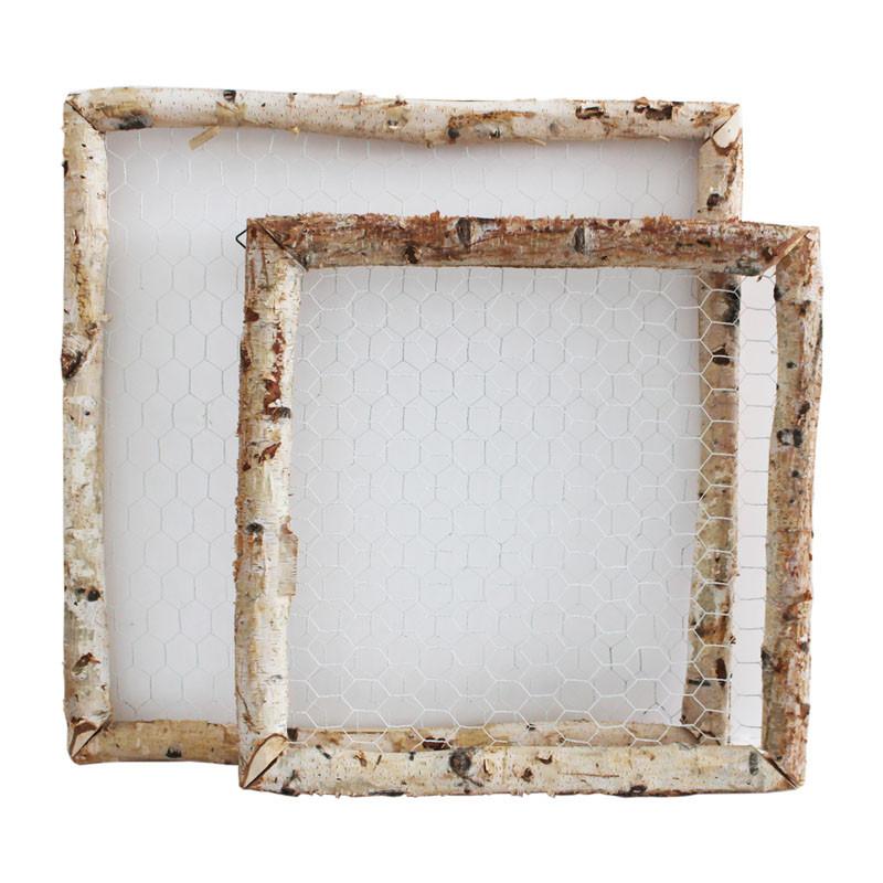 Set de 2 cadres carrés en bois et grillage Cakerty - Grossiste fleuriste