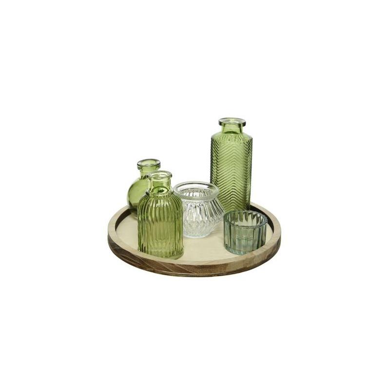 Set de flacons en verre sur plateau en bois Barbo - Grossiste fleuriste