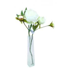 Pivoine 2 fleurs et 1 bouton 51 cm