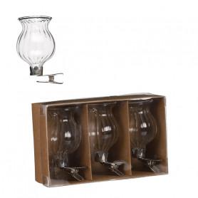 Set de 3 vases en verre à...