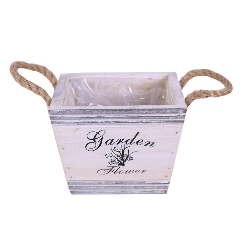 Cache-pot carré en bois Gardeny - Matériel fleuriste