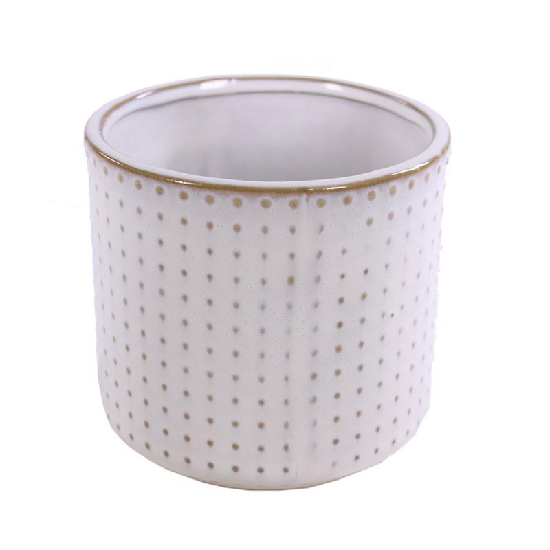Cache-pot rond en céramique Pointilla - Matériel fleuriste déco