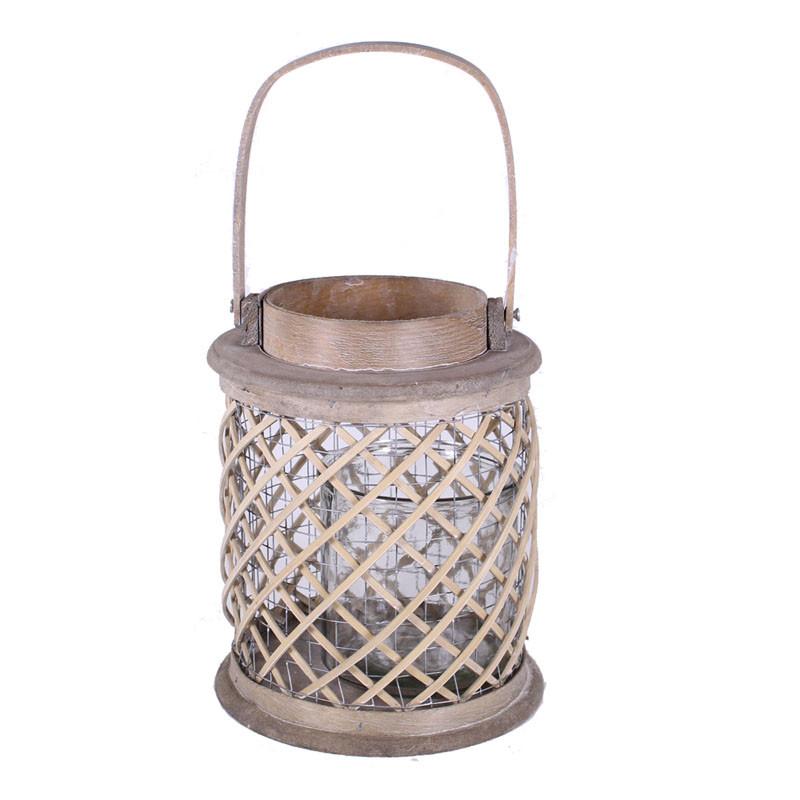 Lanterne photophore en bois Acuily - Matériel fleuriste