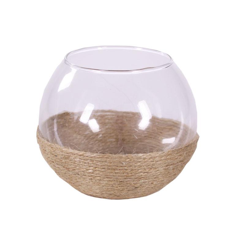 Vase boule en verre détail cordage Jenya - Matériel fleuriste