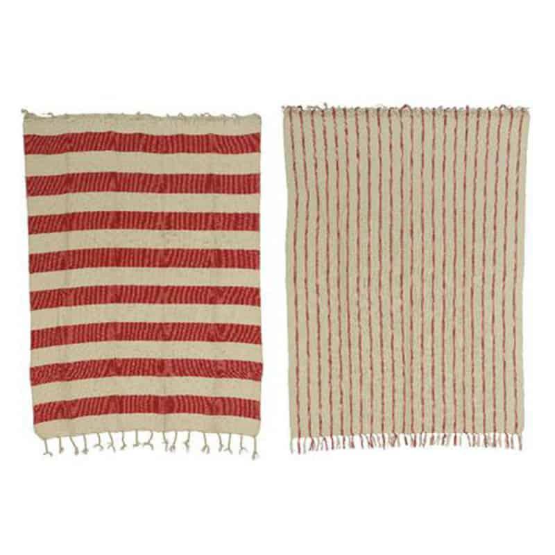 Plaid en coton rayé rouge et blanc Mariry - Matériel fleuriste