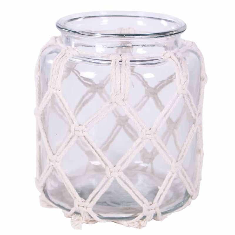 Vase déco en verre revêtement macramé Kaely - Matériel fleuriste