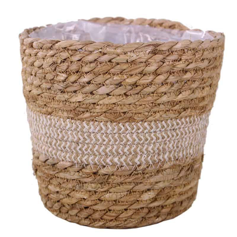 Panier rayé bicolore en corde Managy - Matériel fleuriste