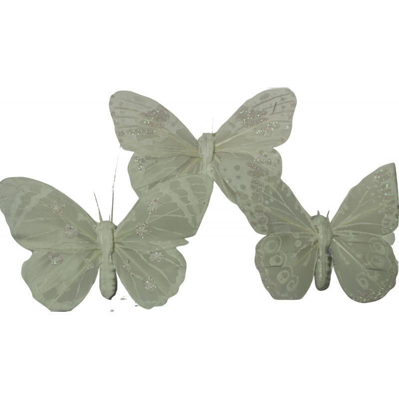 Papillons sur pics blancs Terif - Matériel fleuriste