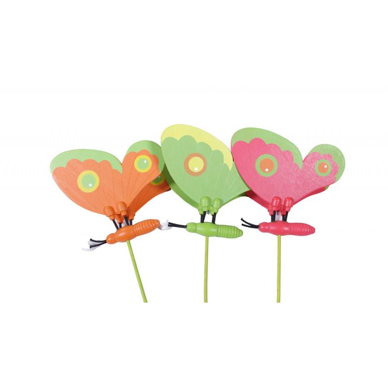 Papillons en bois sur pics Crimo - Matériel pour fleuriste
