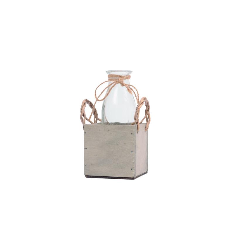 Soliflore en verre et support caisse en bois Capa - Matériel pour fleuriste