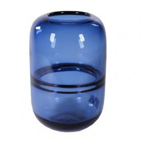 Vase en verre bleu ligne...