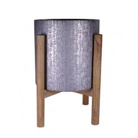 Cache-pot en métal et pieds en bois Brady - Composition florale